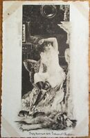 Risque 1904 French Postcard: Woman in Night Clothes, Lion Rug - Artist-Signed