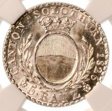 Switzerland Solothurn Canton 5 Batzen 1826 NGC MS67+ Gleaming White Coin !