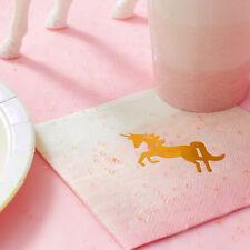Rosa E Oro Unicorno Festa Di Compleanno Tovaglioli da cocktail, Magico Rosa e Oro Bir