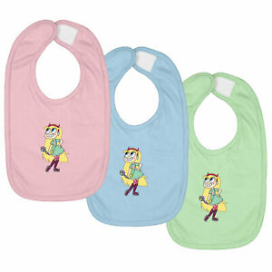 3-SET Infant Baby Bib Hook & Loop Closure Gift Princess Butterfly Star vs Forces