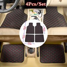 4Pcs Black Red Line Car Carpets Kit Full Set PU Leather Front+Rear Floor Mats