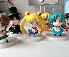 "6x Sailor Moon Mercury Mars Venus Tuxedo Mask 6cm/2.4"" PVC Figure Set No Bo"