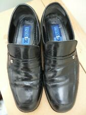 Black leather slip on shoes size 8