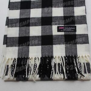 Men's 100% CASHMERE Black/White Square check tartan Plaid Scarf MADE IN SCOTLAND