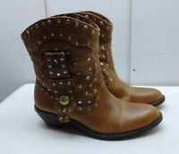 Vince Camuto Brown Leather Western Ankle Boots Cowboy Casual Women's Shoes 6B 36