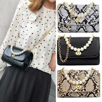 Snake Print Pearls Shoulder Handbags PU Leather Women Chain Crossbody Bags
