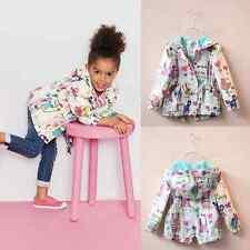Baby Girls Autumn Outwear Coat Hoodie Print Cartoon Graffiti Zipper Jacket