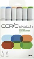Copic Sketch Earth Essentials Dual-Tipped Refillable Ink 6 Piece Markers New