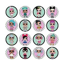 16x EDIBLE LOL Dolls series 2 Cupcake Toppers Birthday Wafer Paper 4cm (uncut)