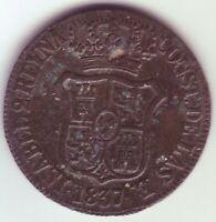 Monete 6 Quarti Isabel II - Anno 1837 - Catalogna- Barcelona Fcb