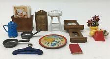 Vintage Lot Dollhouse Miniature Shackman Clock Magazine Stand Pots Plant Etc