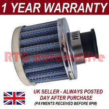 12mm AIR OIL CRANK CASE BREATHER FILTER FITS MOST CARS BLUE & CHROME ROUND