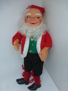 Vintage Christmas Norwegian Nisse Tomte Doll Gnome Elf Rubber Wired Posable 12""