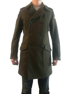 Mens Military Wool Outerwear Double Breasted Trench Coat Overcoat Jacket Parka