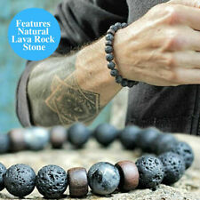 Nuevo con cuentas de piedra roca de lava natural filamento elástico Pulsera de terapia de curación de Yoga