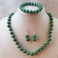 Natural 8mm green malachite round necklace Bracelets Earrings Set
