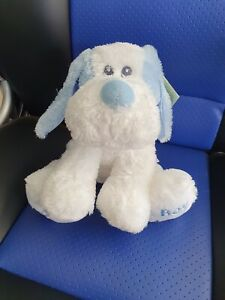 **Korimco blue and white SILKY DOG for Baby Boy**  - NEW - rattles
