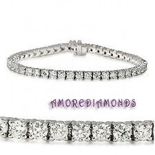 5 ct E I1 natural round ideal diamond 4 prong tennis bracelet 14k white gold