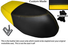 YELLOW AND BLACK CUSTOM FITS APRILIA SONIC 50 DUAL LEATHER SEAT COVER