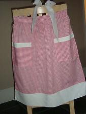 Diseño de cuadros rosa y blanco delantal de media/Musgo