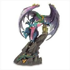 Mystical DRAGON ATTACKING CASTLE Statue Sculpture Figure Figurine - Glitter Dust