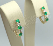 0.12ct ROUND DIAMOND EMERALD 14K YELLOW GOLD WEDDING ANNIVERSARY HOOPS EARRING