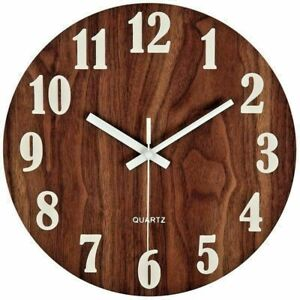 """No-Tick Wooden Wall Clock Silent Night Light Vintage Rustic Country Tuscan 12"""""""