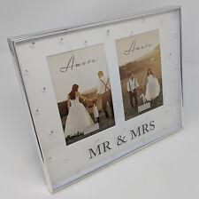 Mr + Mrs Double 3D Picture Diamante Glitter Photo Frame Gift Wedding Anniversary