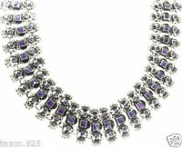 VINTAGE DESIGN TAXCO MEXICAN STERLING SILVER AMETHYST NECKLACE MEXICO