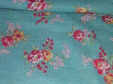 """682J Vintage 32""""W COTTON PLISSE SEERSUCKER Turquoise w RED YELLOW ROSES 3-3/4YDS"""