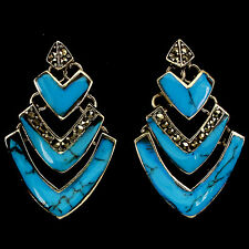 Sterling Silver 925 Genuine Natural Marcasite & Turquoise Art Deco Earrings