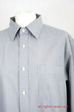 """L240/45 Uniqlo Casual Long Sleeved Blue Cotton Striped Shirt,size M 16.5"""" 42 cm"""