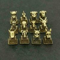 12PCS Chinese Brass Statue Suit Twelve Animals Of The Chinese Zodiac Seal Stamp