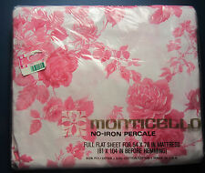 Full Flat Sheet Tivoli Rose by Monticello Vtg Cottage Chic Pink Roses New in Pkg