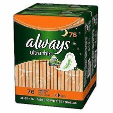 Always Ultra Thin Overnight Pads With Wings Unscented 76 Count