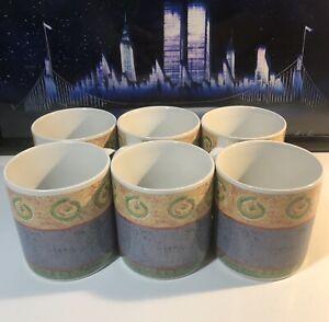 Sakura Malaga 1995 By Sue Zipkin Set Of 6 Coffee Mug Cup - Vintage Stoneware