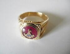 Vintage 10kt YG Masonic man's Ring Red stone sze 10.25  I-5387