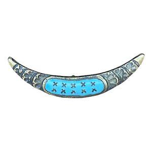 Wonderful Antique Gold Tone Flower Engraved Blue Enamel Crescent Shape Button