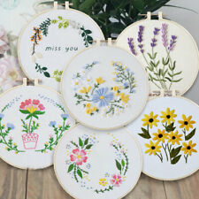 DIY Embroidery Kits Floral Pattern Beginners Needlework at Home