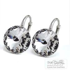 925 Sterling Silver Dangle Earrings Vitrail Light 12mm Crystals From Swarovski