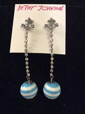 $35 Betsey Johnson Anchor Away Stripped Ball & Anchors  Earrings BK3