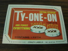 1979 Fleer Crazy Labels #39 Ty-One-On Tablets and forget everything Card (B101)