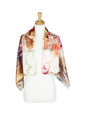 Face Painting Mulberry Satin Silk Stole Women Square Scarf