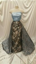 Black Blue Jacquard Gold Metallic Floral Flowers Brocade Fabric By The Yard Gown