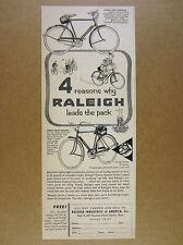 1956 Raleigh Sport Licht Roadster & Untersetzer Bikes Fahrräder Vintage Print AD