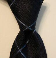 "ERMENEGILDO ZEGNA ""Z"" Men's 100% Silk Necktie ITALY Luxury PLAID Blue Skinny EUC"