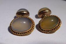 Art Deco Cuff links 10/12k Solid Gold Moonstone Cuff-links 1900s Antique Unique