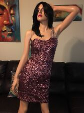 💕 LA FEMME Berry Gold SEQUIN Jeweled One Shoulder Prom Party DRESS NORDSTROM