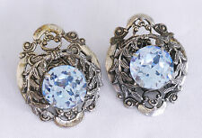Signed Sandor antiqued silver-tone clip on earrings large sapphire stones