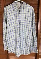 Men's Peter Millar Long Sleeve Plaid Button Front Shirt Size Large LG L
